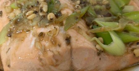 ハトムギ味噌 鮭料理